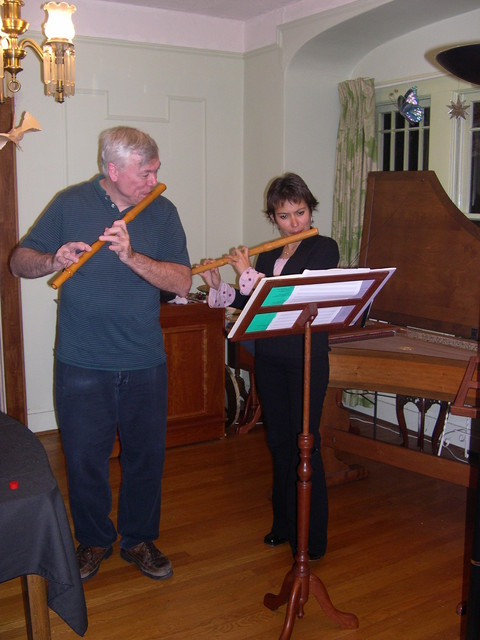 Music for 2 flutes - following a Peruvian dinner, Nov 1, 2006