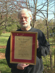 Friend and Harpsichordmaker Richard Kingston with his Lifetime Achievement Award, presented by the Southeastern Historical Keyboard Society