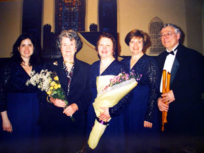 """Carolina Pro Musica with the composer Margaret Sandresky following the premiere of the new work, March 2003. Sandresky composed """"5 Shakespeare Songs"""" as a commissioning for the 25th Anniversary."""