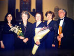 "Carolina Pro Musica with the composer Margaret Sandresky following the premiere of the new work, March 2003. Sandresky composed ""5 Shakespeare Songs"" as a commissioning for the 25th Anniversary."